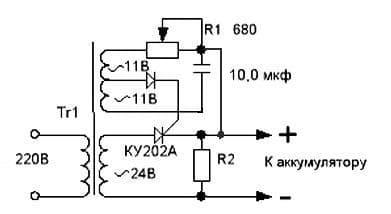 схема управления тиристором в зарядном устройстве