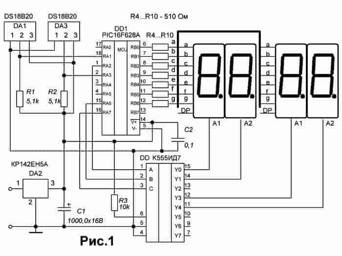 Основой схемы термометра