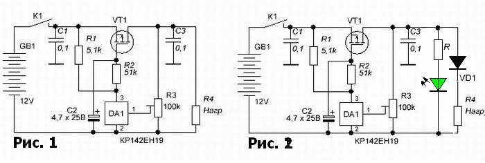 Ограничитель разрядки аккумуляторной батареи, shema1